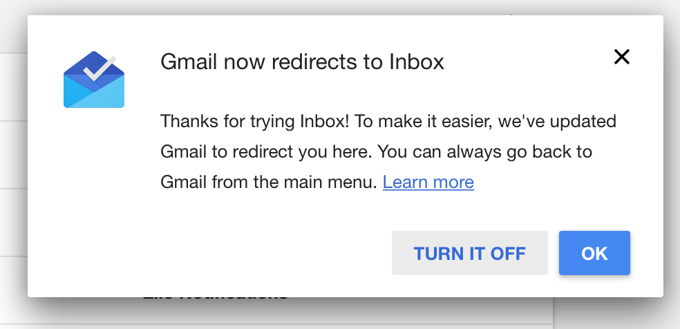 Gmail to inbox redirect screenshot